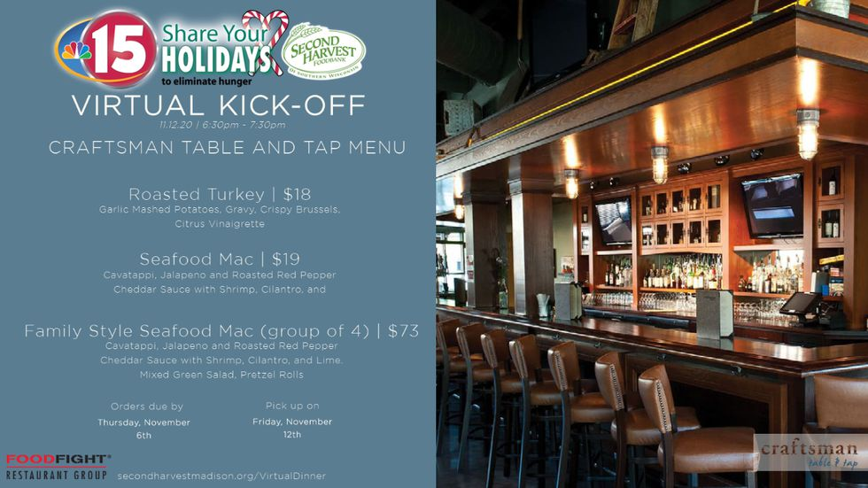 Craftsman Table & Tap menu for NBC15 Share Your Holidays Virtual Kickoff