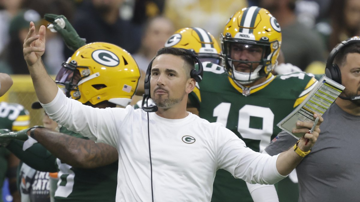 Green Bay Packers head coach Matt LaFleur reacts to a call during the second half of an NFL...
