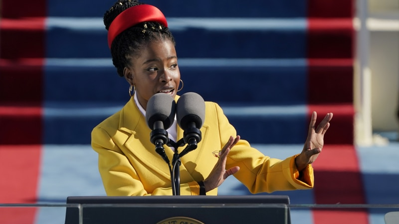 American poet Amanda Gorman reads a poem during the 59th Presidential Inauguration at the U.S....