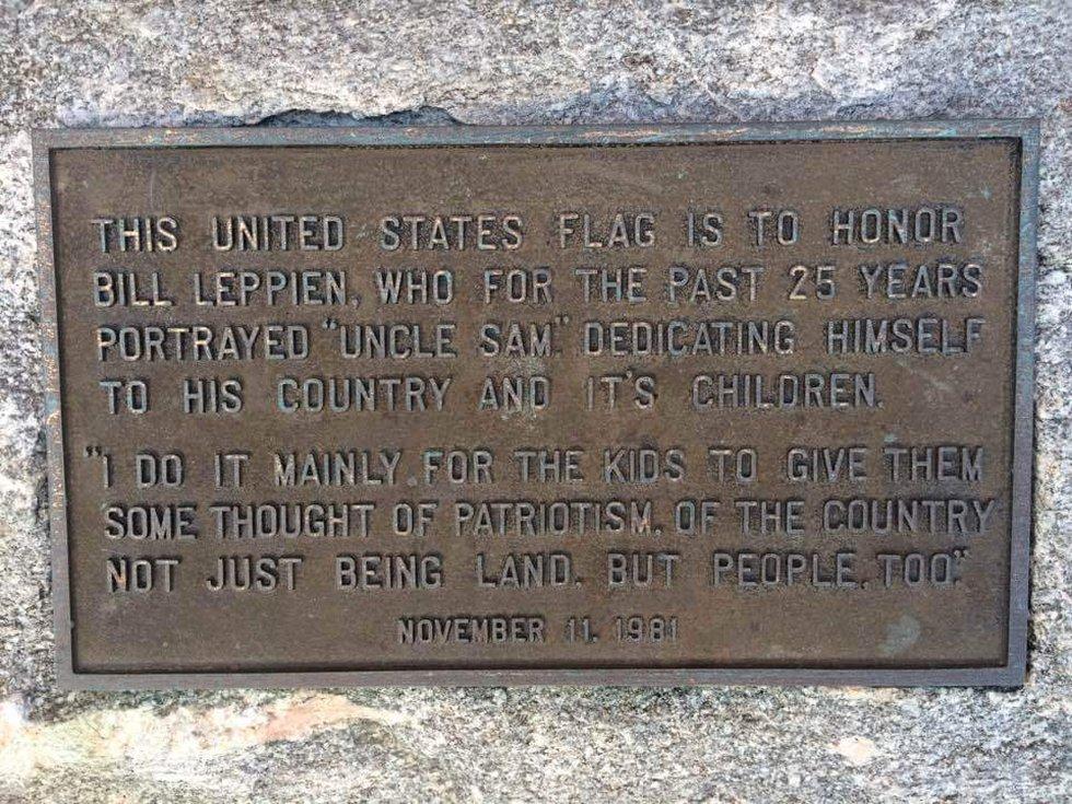 The plaque memorializing Madison's Uncle Sam.