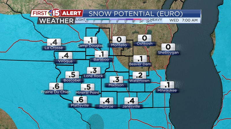 A warm front will generate some accumulating snow this afternoon. Totals will range from a...