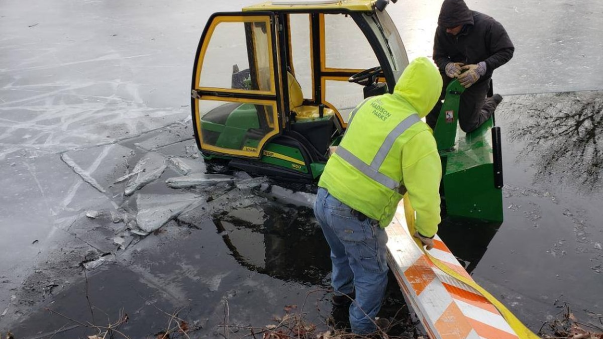 Ice rescue at Tenney Park Lagoon in January 2019.