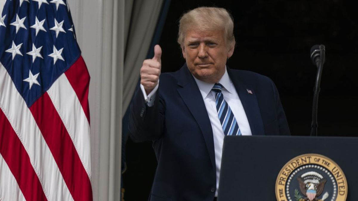 President Donald Trump gives thumbs up, as he departs after speaking from the Blue Room Balcony...
