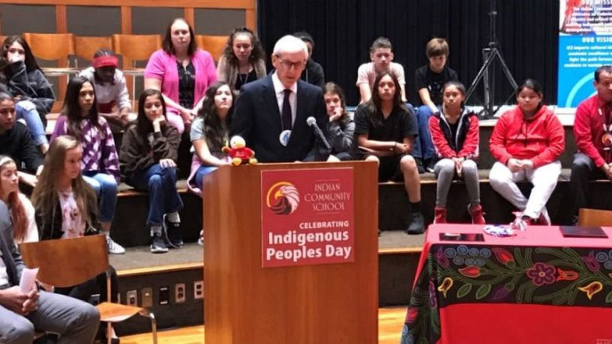 Gov. Tony Evers signs an executive order declaring the second Monday in October Indigenous...