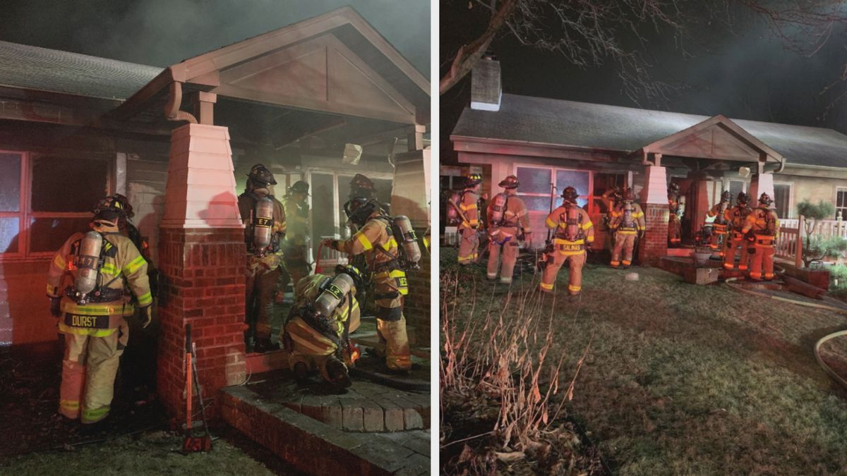Madison firefighters help to contain a porch fire on Loruth Terrace on Thursday evening. (Source: Madison Fire Department)