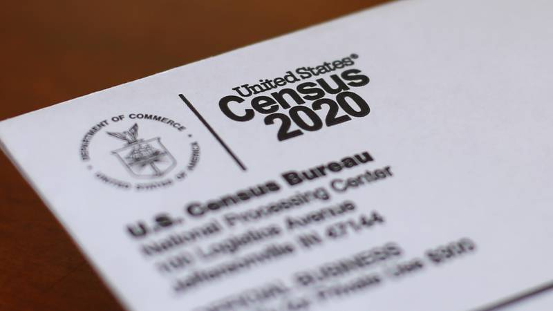 FILE - This April 5, 2020, photo shows an envelope containing a 2020 census letter mailed to a...