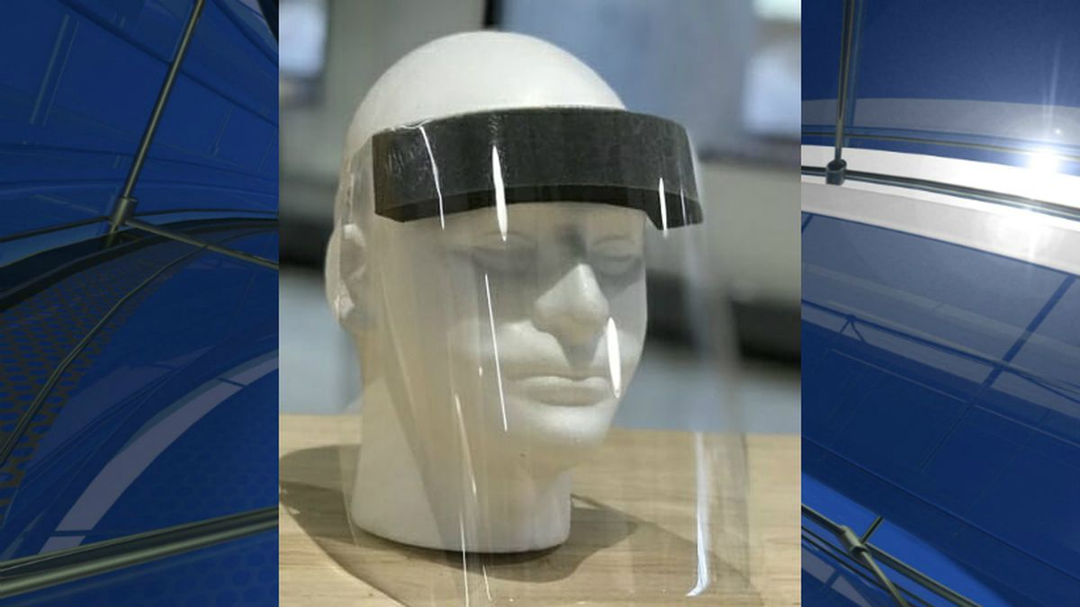 The medical face shield created by UW–Madison engineers in collaboration with Madison...