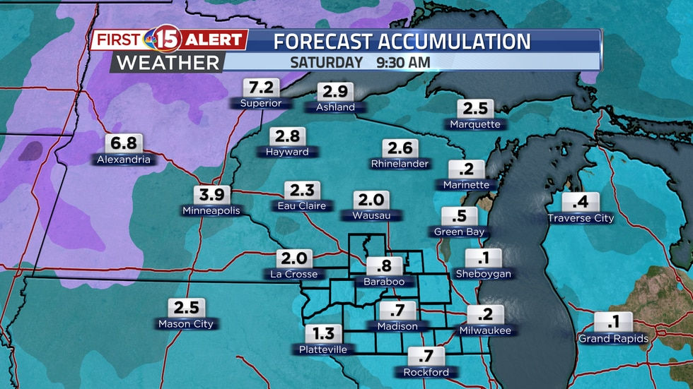 Minor snow accumulation is expected through this week. Much of it will take place Thursday...