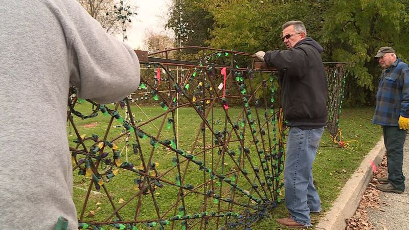 Crews up set the annual Christmas lights event at Olin Park.