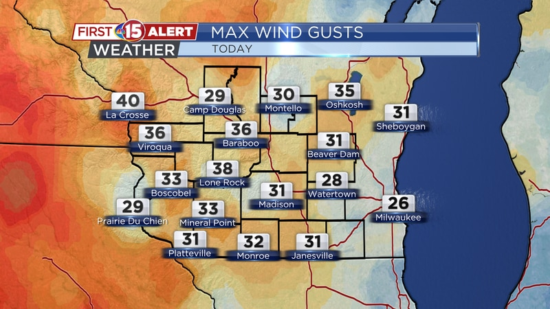 Max Wind Gusts Sunday