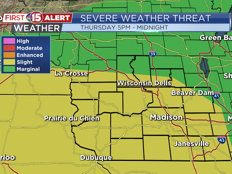 Strong to severe thunderstorms are expected Thursday evening. Much of southern Wisconsin is...