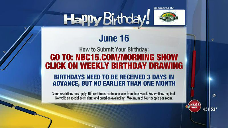 Birthdays for Wednesday, June 16