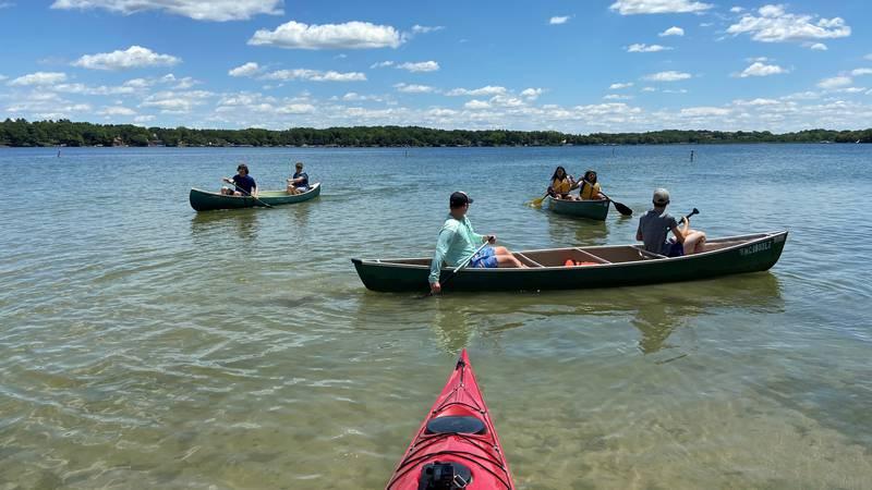 Fort Atkinson High School students learn paddling skills on Lake Ripley near Cambridge.