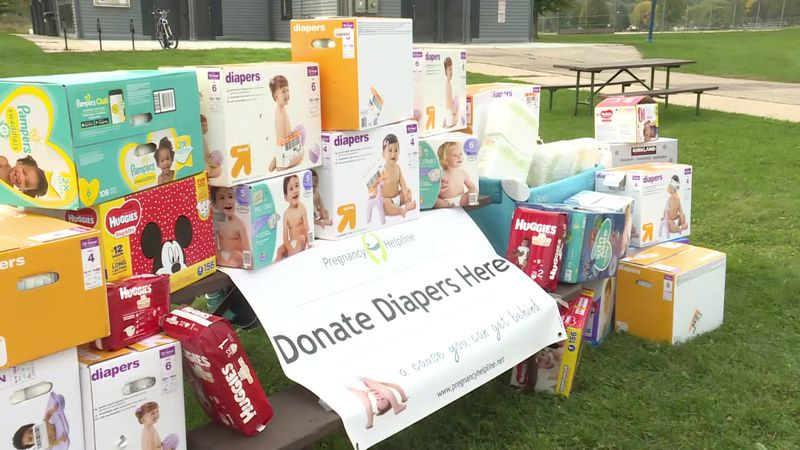 Diapers donated to Pregnancy Helpline at McKee Park