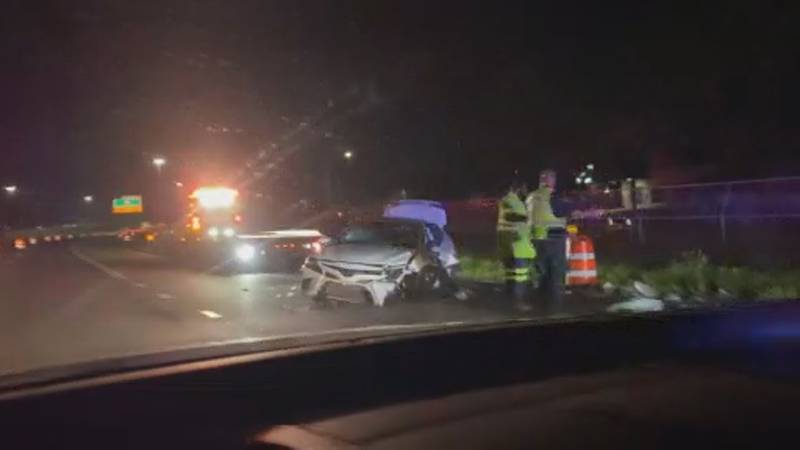 Three people were injured overnight in a crash near the Fish Hatchery Road exit ramp.