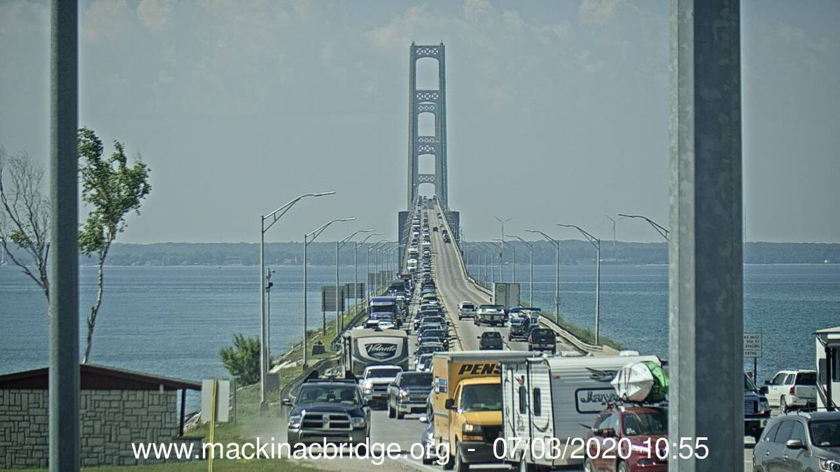 A view of the Mackinac Bridge traffic, looking south from the tollbooths, on July 3, 2020