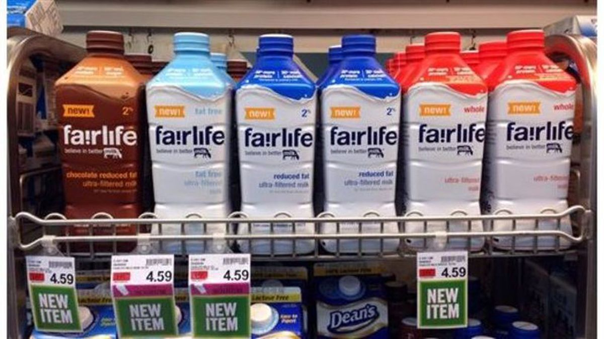 In this Friday, Jan. 23, 2015 photo, Fairlife milk products appear on display in the dairy...