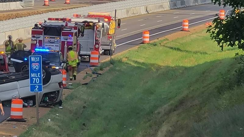 Emergency crews responded to a crash on I-90/94 on Monday, June 28, 2021.