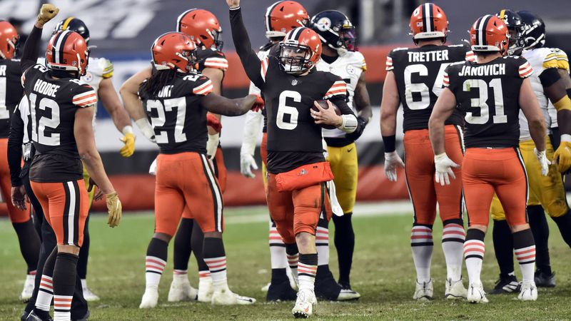 Cleveland Browns quarterback Baker Mayfield celebrates after the team defeated the Pittsburgh...