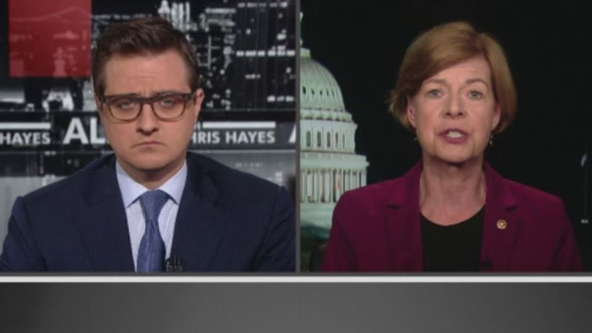 """Sen. Tammy Baldwin (D-WI) on MSNBC's """"All In with Chris Hayes"""" Tuesday night (Source: WMTV via MSNBC)"""