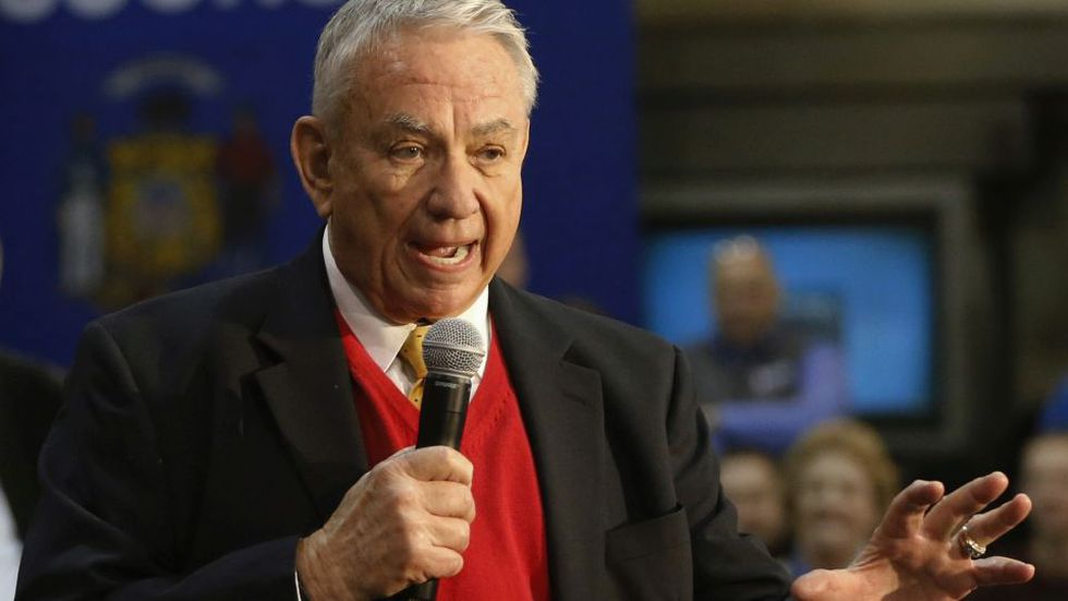 In this March 18, 2016 photo, former Wisconsin Gov. Tommy Thompson addresses the crowd at a...