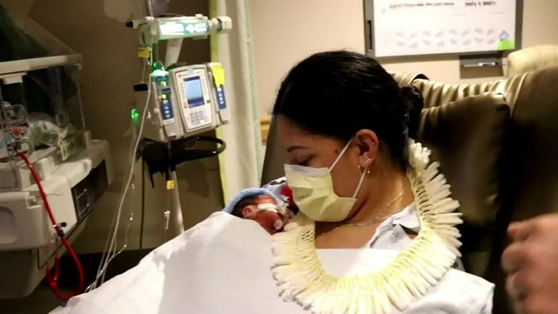 A baby born prematurely on an airplane was cared for by three neonatal nurses who just happened...