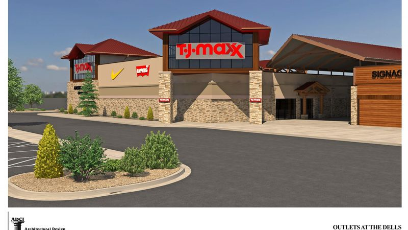 Preliminary architectural rendering of the new TJ Maxx opening at Outlets at the Dells in fall...