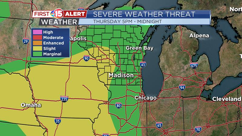 There is a Marginal to Slight Threat of Severe thunderstorms for southern Wisconsin tomorrow.