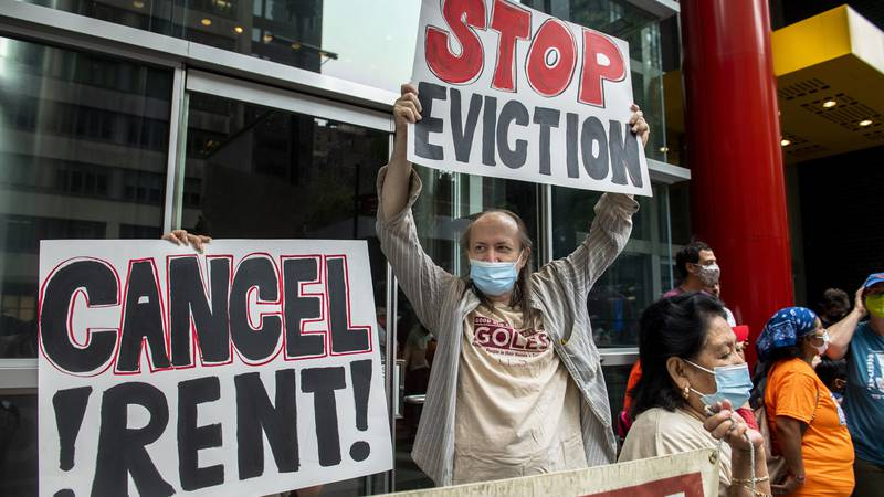 FILE - In this Aug. 4, 2021, file photo, housing advocates protest on the eviction moratorium...