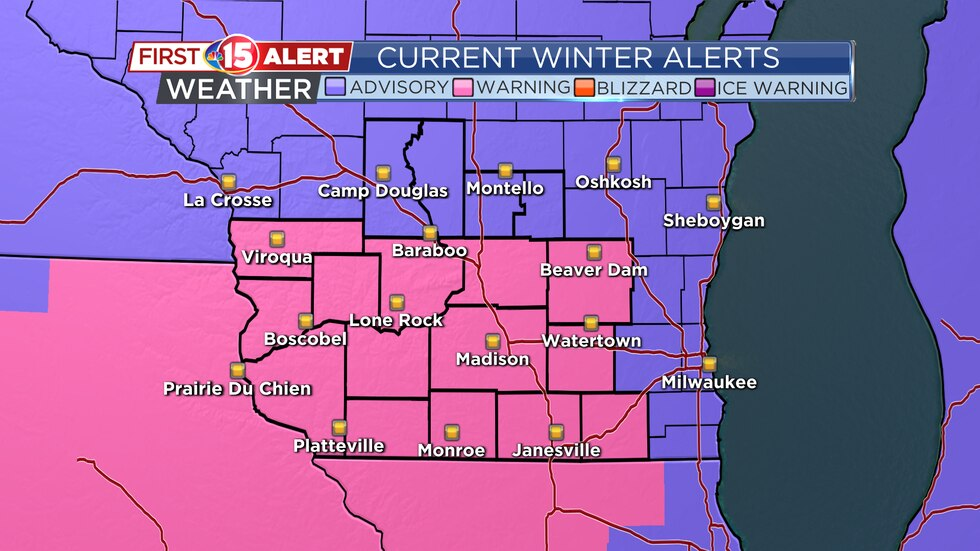 A Winter Storm Warning will be in effect from 4:00 p.m. today through noon Wednesday for the...