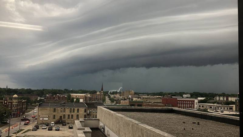 Clouds rolling into downtown Janesville.