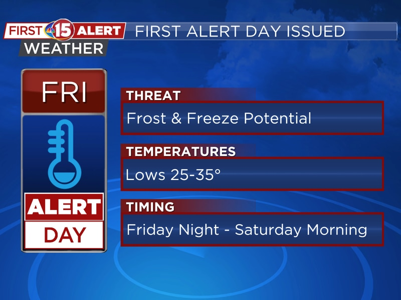 Cold temperatures bring the chance of frost and freezing conditions.