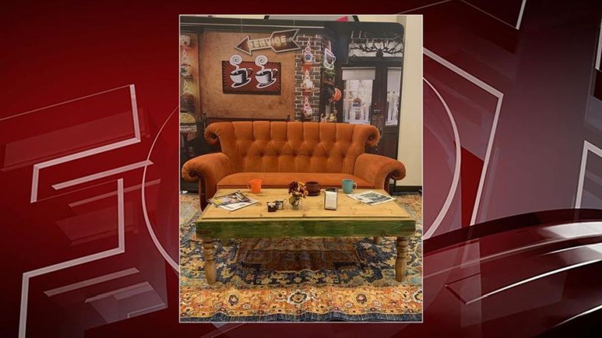 One of 20 replicas of the orange couch featured in the TV-show Friends could be coming to Cup O'Joe Coffee House in Twin Lakes, Wisconsin. (Photo courtesy of Marcus Theaters via FOX11)