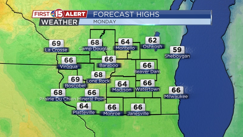 Monday temperatures may climb close to 70°F in some spots.