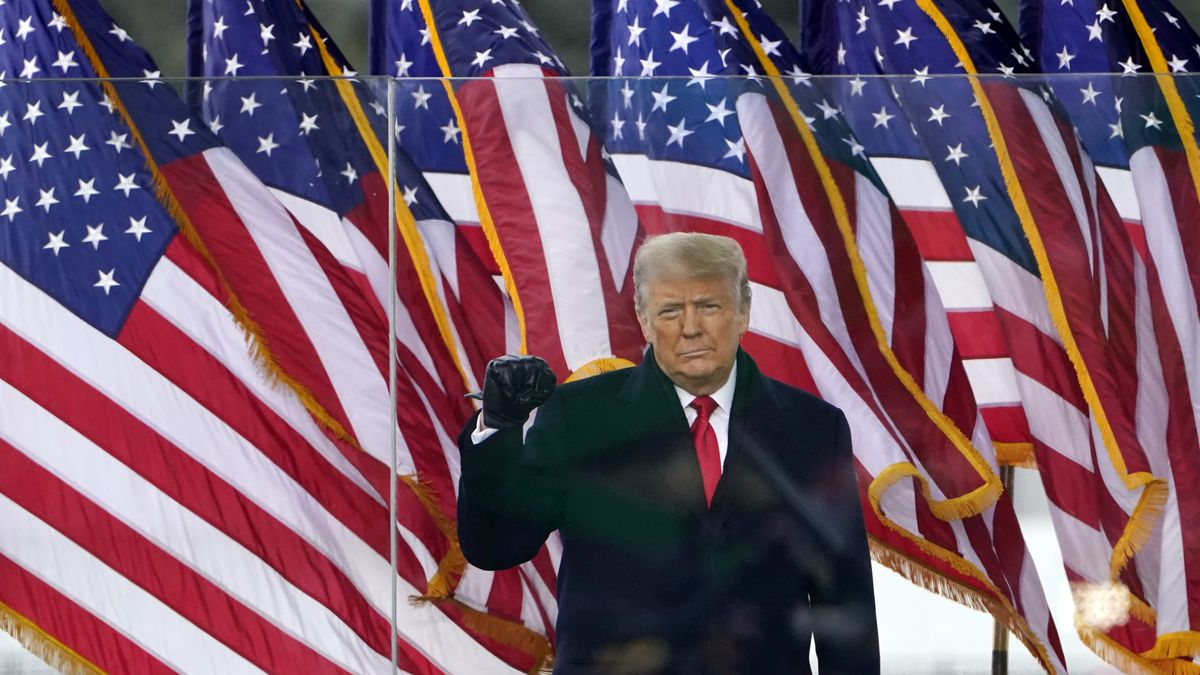 President Donald Trump arrives to speak at a rally Wednesday, Jan. 6, 2021, in Washington. (AP...