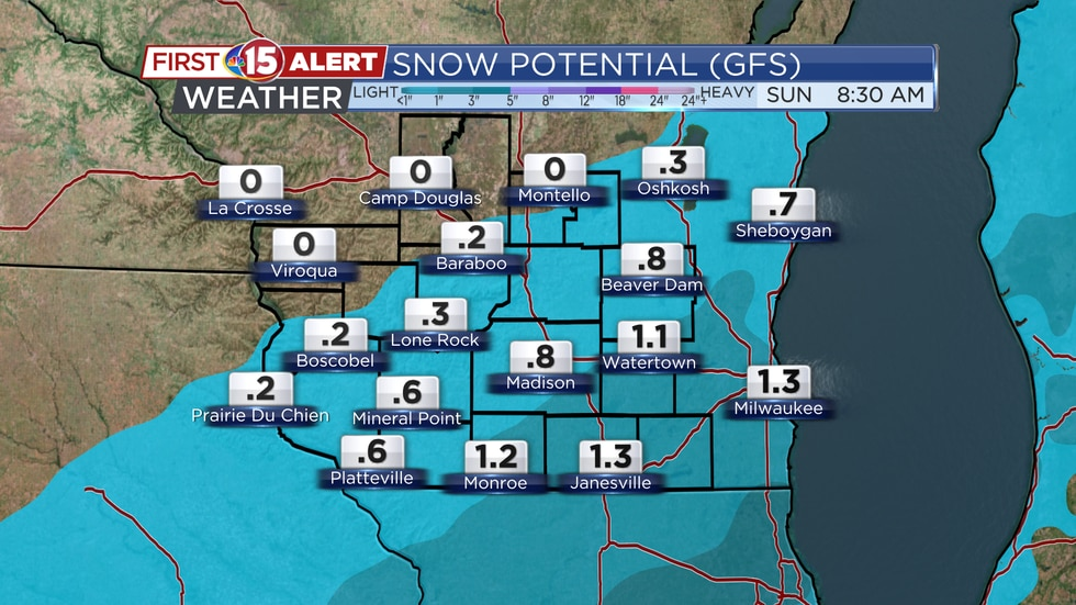 Snow accumulation tomorrow will range from little, if any, to the northwest of Madison. 1 to 2...