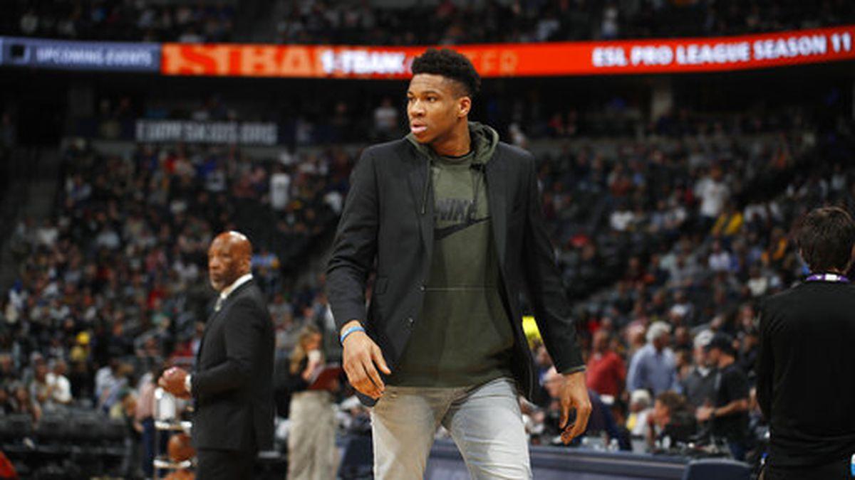Milwaukee Bucks forward Giannis Antetokounmpo (34) in the second half of an NBA basketball game Monday, March 9, 2020, in Denver. The Nuggets won 109-95. (AP Photo/David Zalubowski)