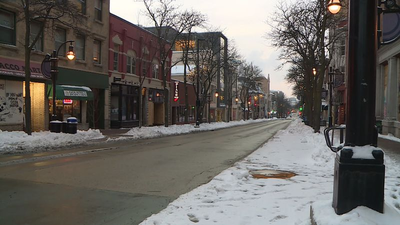 State Street and its businesses are fairly empty in the first weekend of 2021.