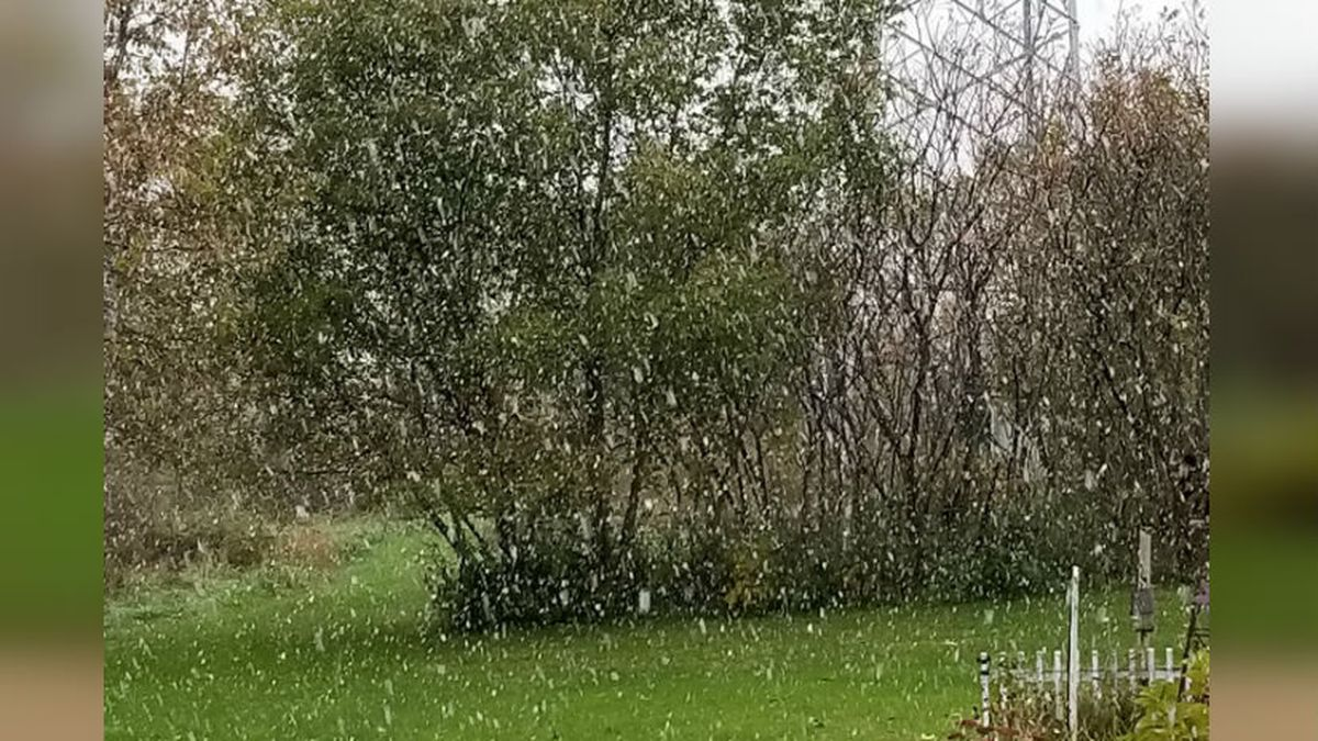 FILE: Snow falling in North Freedom on Oct 12. 2019. Courtesy: Mary and Brian Burns