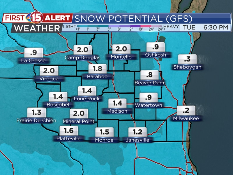 These are the forecast snow totals over southern Wisconsin tonight and early Tuesday.