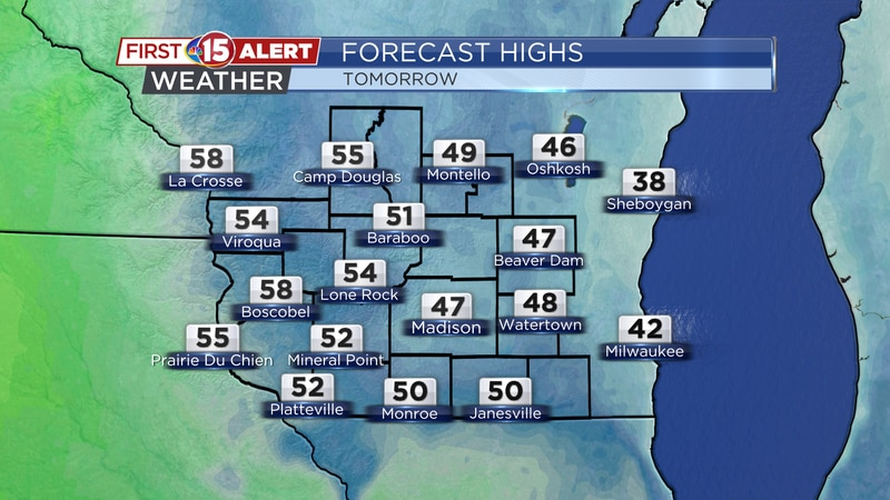 Sunday afternoon temperatures will climb well into the 40's. 50°F+ temperatures are likely...