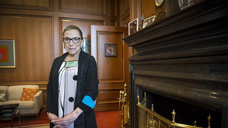FILE - In this July 31, 2014 file photo, Associate Justice Ruth Bader Ginsburg is seen in her...