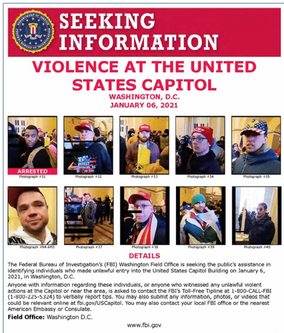 The FBI wanted poster from which federal agents confirmed Michael Fitzgerald was a participant...