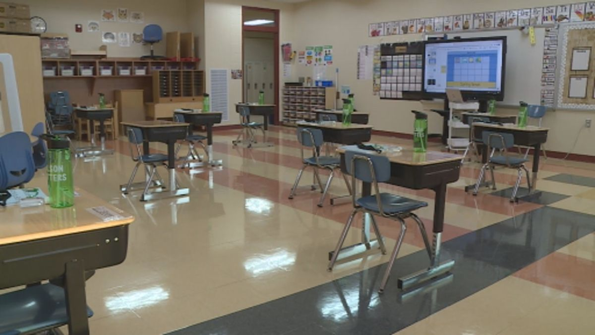 The kindergarten classroom will welcome students back to in-person learning on Tuesday, March 9.