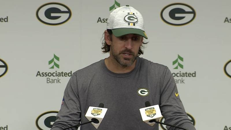 Aaron Rodgers addresses the media after training camp practice. July 28, 2021.