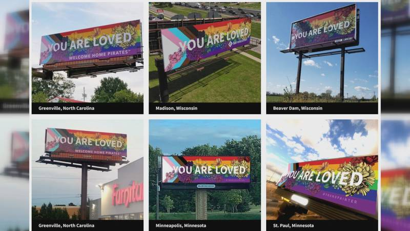 """""""You Are Loved"""" billboards in Wisconsin, Minnesota, Montana and North Carolina."""