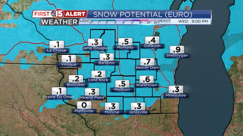 Minor accumulation of snow is expected over a portion of southern Wisconsin today. Most spots...