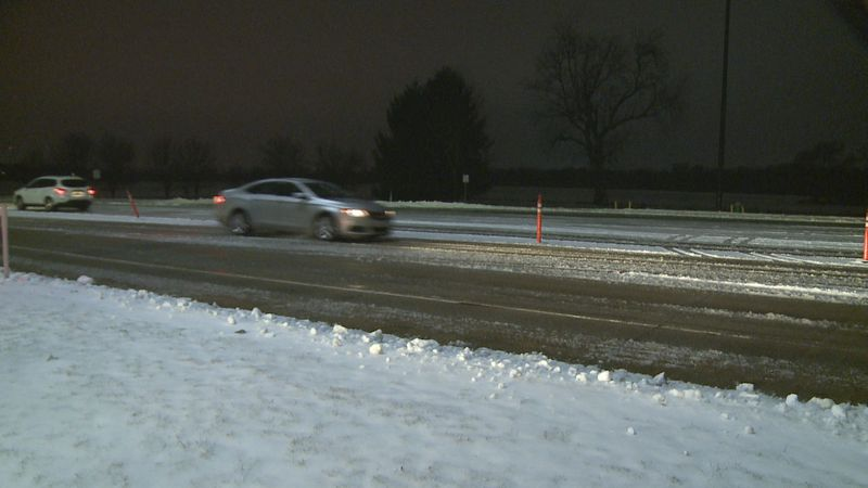 The snow and freezing rain from overnight left the roads messy Wednesday morning.
