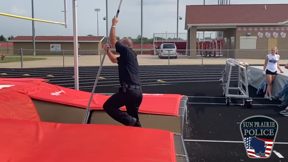 Sun Prairie Police Dept. was cheering on a local track and field athlete Friday.