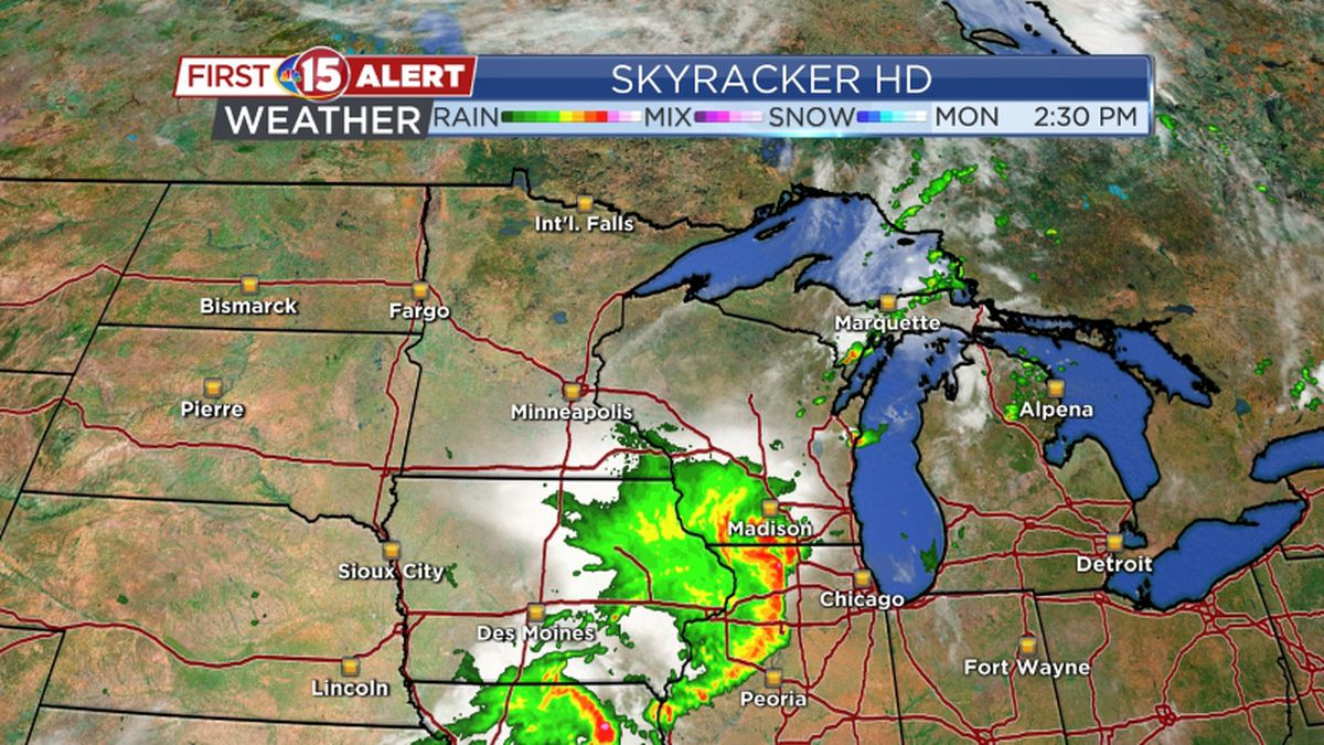 Storms move into Wisconsin on Monday, August 10, 2020.